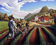 Crops Paintings - folk art farm landscape Cultivating Peas fairy tale scene americana country life fantasy American by Walt Curlee