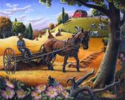 Rural Landscapes Painting Prints - Folk Art Farm Landscape Raking Hay Field Rustic Country American Oil Painting Print by Walt Curlee