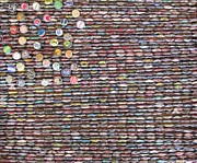 Bottle Cap Painting Posters - Folk Art Flag of Bottle Caps Poster by Kurt Olson