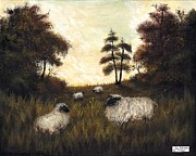 English Country Art Prints - Folk Art Pastoral Print by Adam Zebediah Joseph