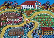 School Houses Painting Posters - Folk Art Town Poster by Kerri Ambrosino GALLERY