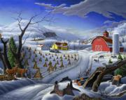 Farming Originals - Folk Art Winter Landscape Farm deer fairy tale country farms fantasy rustic Americana life scene by Walt Curlee