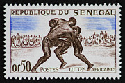 Senegal Framed Prints - Folk Wrestling Vintage Postage Stamp Print Framed Print by Andy Prendy
