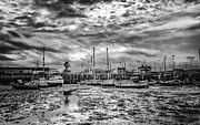 Port Kent Prints - Folkestone harbour mono Print by Ian Hufton