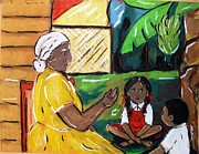 Featured Pastels Posters - Folktale with Grandma Poster by Nadira Karim