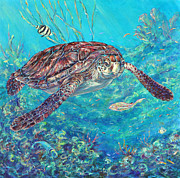 Sea Turtles Paintings - Follow Me by Li Newton