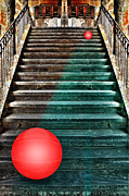 Wooden Stairs Mixed Media Posters - Follow Me Poster by manhART
