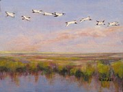 South Carolina Low Country Marsh Paintings - Follow the Leader by Cecelia Campbell