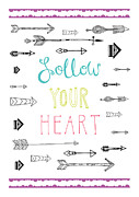 Quote Digital Art Posters - Follow Your Heart Poster by Susan Claire