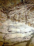 Snow Scene Paintings - Following Max by Thomas Akers