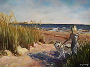 Owner Painting Framed Prints - Folly Beach dog walk Framed Print by Liz Dettrey