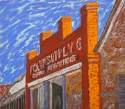 Blue Brick Pastels Prints - Folsom Supply Print by Katrina West