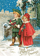 Cards Vintage Digital Art Prints - Fond Christmas Print by Munir Alawi