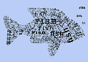 Fish Print Prints - Font Fish Print by Heather Applegate