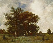 Cloudy Paintings - Fontainebleau Oak by Jules Dupre