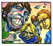 Caricature Mixed Media Prints - Foo Fighters Print by John Ashton Golden