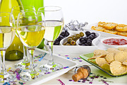 Champagne Glasses Posters - Food and Wine on a Buffet Table Poster by Colin and Linda McKie