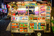 Hot Dogs Prints - Food Cart in New York City Print by Diane Diederich