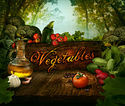 Isolated Digital Art Prints - Food design - Fresh vegetables in celery forest Print by Nikolina Petolas