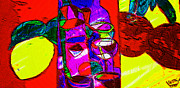 Wine Glasses Mixed Media Prints - Food For Thought Print by Michael Knight