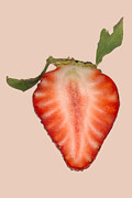 Reds Photo Prints - Food - Fruit - Slice of Strawberry Print by Mike Savad