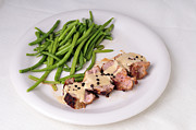 Fresh Green Prints - Food - Pork filet with green beans Print by Matthias Hauser