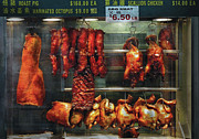 Window Signs Metal Prints - Food - Roast meat for sale Metal Print by Mike Savad