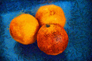 Light And Dark   Digital Art Framed Prints - Food still life - three oranges on blue - digital painting Framed Print by Matthias Hauser