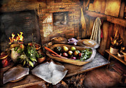 Fireplace Posters - Food - The start of a healthy meal  Poster by Mike Savad