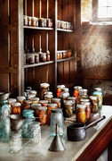 Old Glass Prints - Food - The Winter Pantry  Print by Mike Savad