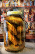 Deli Art Prints - Food - Vegetable - A jar of pickles Print by Mike Savad