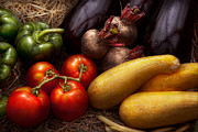 Yummy Tapestries Textiles Framed Prints - Food - Vegetables - Peppers Tomatoes Squash and some Turnips Framed Print by Mike Savad