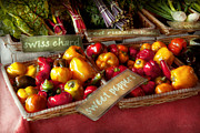 Farmers Market Framed Prints - Food - Vegetables - Sweet peppers for sale Framed Print by Mike Savad