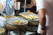 Food Photo Posters - Food Vendors - Night Street Market - Chiang Mai Thailand - 011312 Poster by DC Photographer