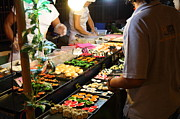 Merchant Prints - Food Vendors - Night Street Market - Chiang Mai Thailand - 011314 Print by DC Photographer