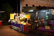 Night Photo Framed Prints - Food Vendors - Night Street Market - Chiang Mai Thailand - 011315 Framed Print by DC Photographer