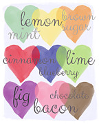 Romance Mixed Media Prints - Foodie Love Print by Linda Woods