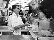 Hot Dogs Art - Foot Long Hot Dog Vendor by Underwood Archives