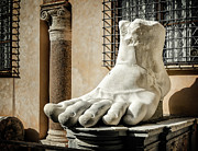 Ancient Ruins Prints - Foot of Constantine Print by Joan Carroll