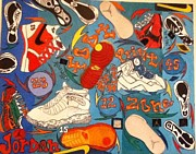 Basketball Paintings - Foot Print Zone  by Mj  Museum