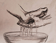 Jesus Drawings Originals - Foot Washing by Heidi E  Nelson