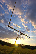 Football Metal Prints - Football Goal at Sunset Metal Print by Olivier Le Queinec