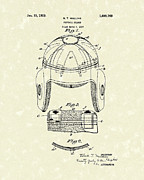 1929 Drawings - Football Helmet 1929 Patent Art by Prior Art Design