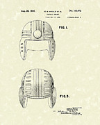 Helmet Drawings - Football Helmet 1936 Patent Art by Prior Art Design