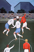 Soccer Painting Framed Prints - Football Framed Print by Jerzy Marek