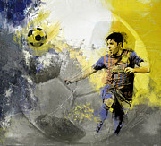 Messi Painting Framed Prints - Football Player Framed Print by Catf