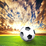 Soccer Art - Football soccer ball on green grass by Michal Bednarek