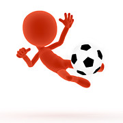 Kicking Posters - Football soccer shooting jumping pose Poster by Michal Bednarek