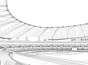 Stadium Design Digital Art Prints - Football Soccer Stadium Print by Nenad  Cerovic