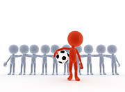 Leader Posters - Football soccer team leader with ball Poster by Michal Bednarek